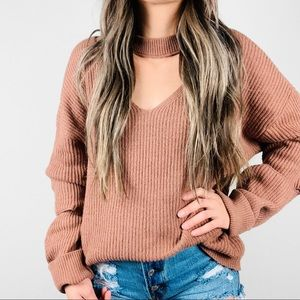 RUBY MOON Anthropologie Cutout Ribbed Sweater XL